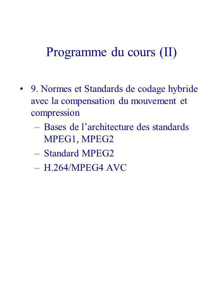 Programme du cours (II) 9. Normes et Standards de codage hybride avec la compensation du mouvement et compression –Bases de larchitecture des standard