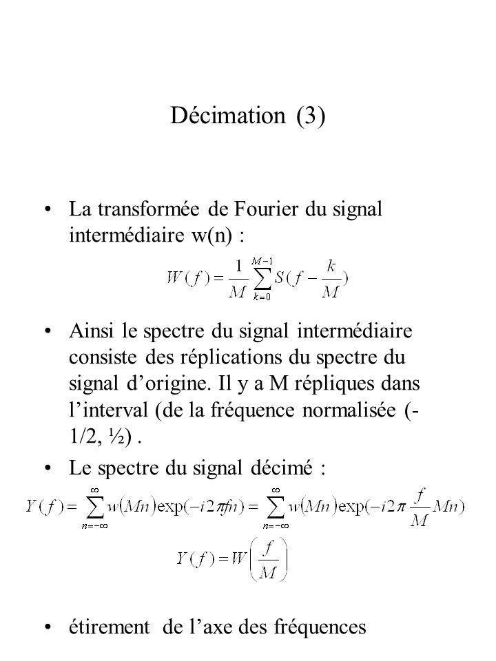 Décimation (3) La transformée de Fourier du signal intermédiaire w(n) : Ainsi le spectre du signal intermédiaire consiste des réplications du spectre