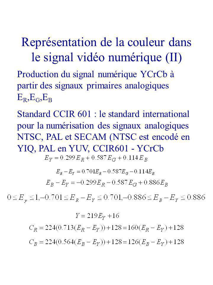 Représentation de la couleur dans le signal vidéo numérique (II) Production du signal numérique YCrCb à partir des signaux primaires analogiques E R,E