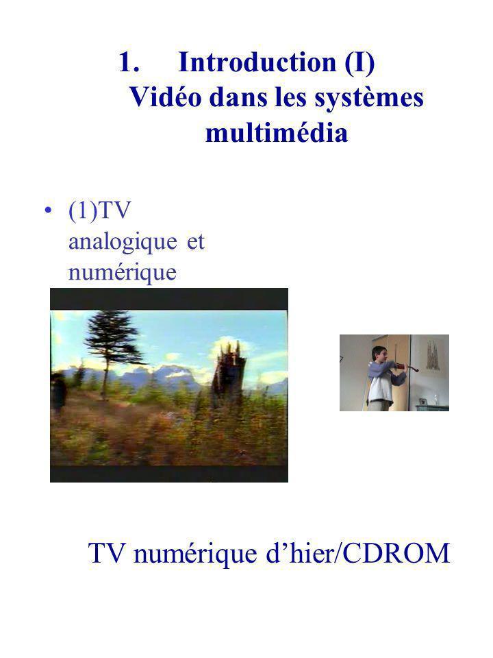 1.Introduction (I) Vidéo dans les systèmes multimédia (1)TV analogique et numérique TV numérique dhier/CDROM