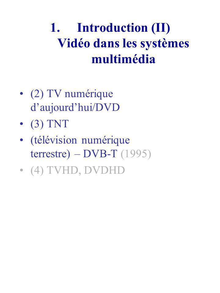 1.Introduction (II) Vidéo dans les systèmes multimédia (2) TV numérique daujourdhui/DVD (3) TNT (télévision numérique terrestre) – DVB-T (1995) (4) TV