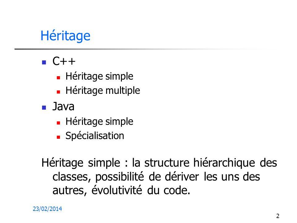 23/02/2014 2 Héritage C++ Héritage simple Héritage multiple Java Héritage simple Spécialisation Héritage simple : la structure hiérarchique des classes, possibilité de dériver les uns des autres, évolutivité du code.