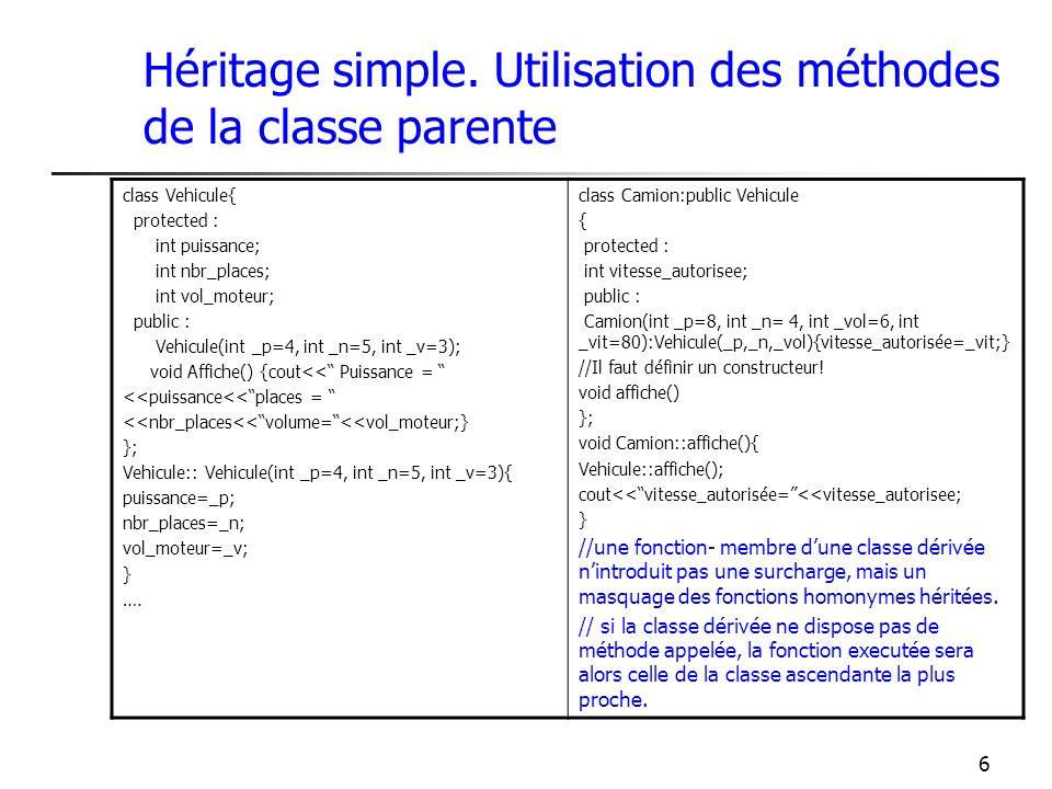 6 Héritage simple. Utilisation des méthodes de la classe parente class Vehicule{ protected : int puissance; int nbr_places; int vol_moteur; public : V