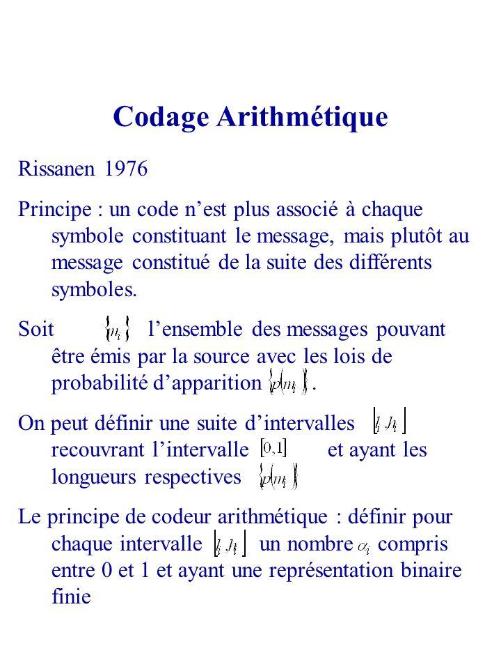 Codage Arithmétique Rissanen 1976 Principe : un code nest plus associé à chaque symbole constituant le message, mais plutôt au message constitué de la