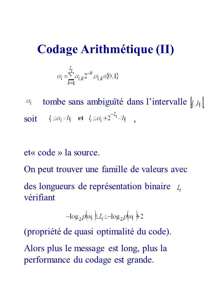 tombe sans ambiguïté dans lintervalle soit, et« code » la source. On peut trouver une famille de valeurs avec des longueurs de représentation binaire