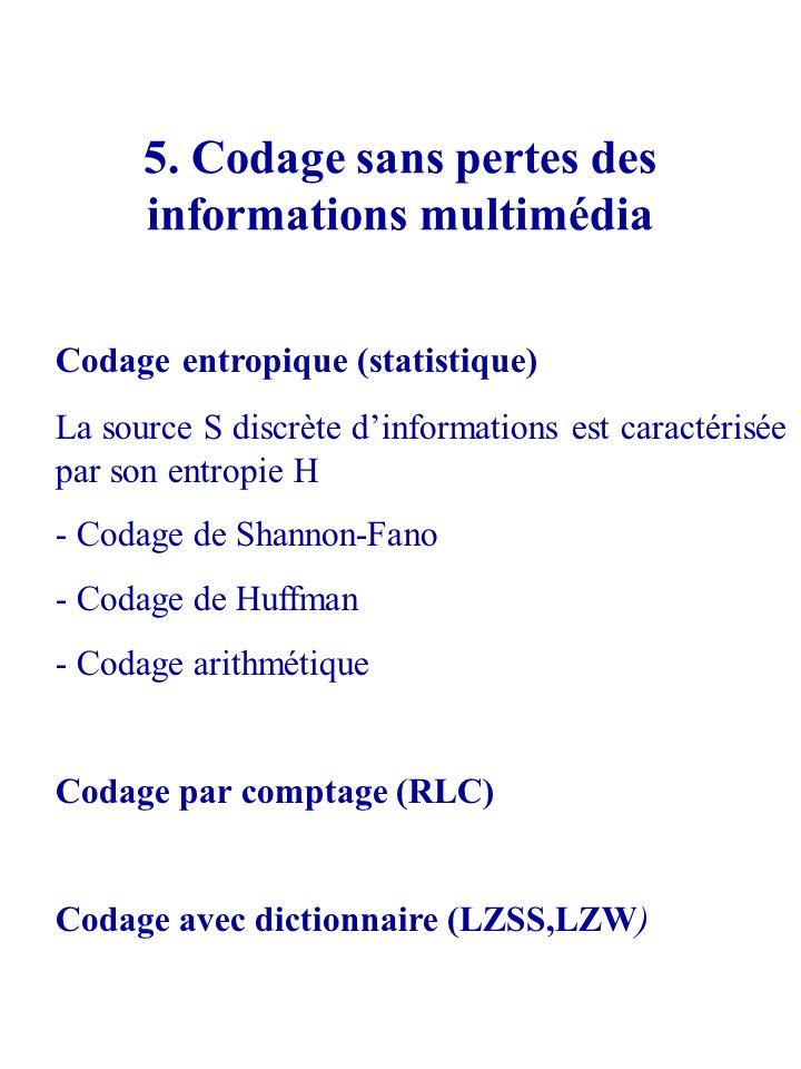 5. Codage sans pertes des informations multimédia Codage entropique (statistique) La source S discrète dinformations est caractérisée par son entropie