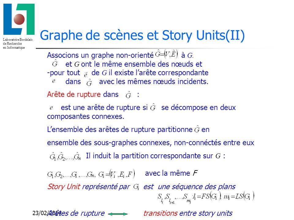 Laboratoire Bordelais de Recherche en Informatique 23/02/2014 Graphe de scènes et Story Units(II) Associons un graphe non-orienté à G.
