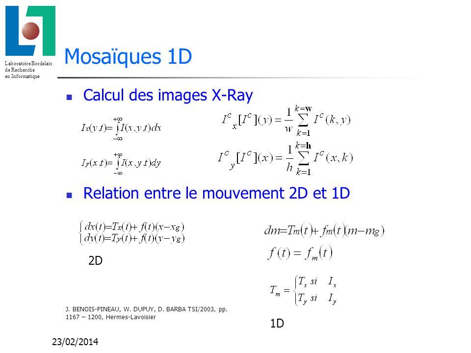 Laboratoire Bordelais de Recherche en Informatique 23/02/2014 Mosaïques 1D Calcul des images X-Ray Relation entre le mouvement 2D et 1D 2D 1D J.