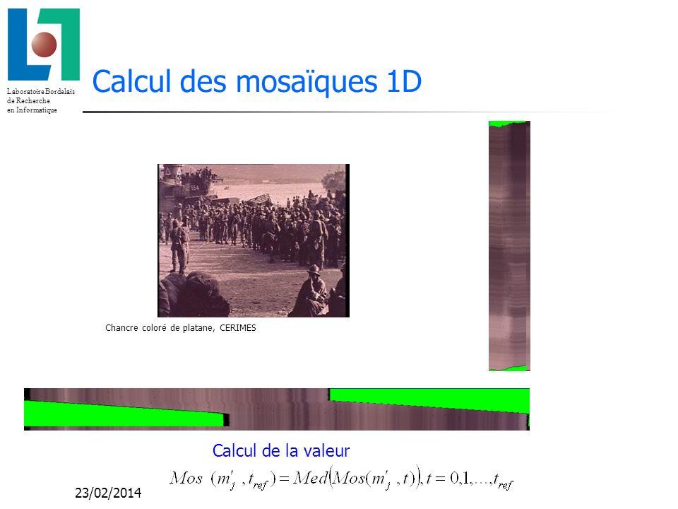 Laboratoire Bordelais de Recherche en Informatique 23/02/2014 Calcul des mosaïques 1D Calcul de la valeur Chancre coloré de platane, CERIMES