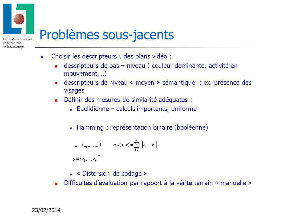 Laboratoire Bordelais de Recherche en Informatique 23/02/2014 Problèmes sous-jacents Choisir les descripteurs x des plans vidéo : descripteurs de bas – niveau ( couleur dominante, activité en mouvement,…) descripteurs de niveau « moyen » sémantique : ex.