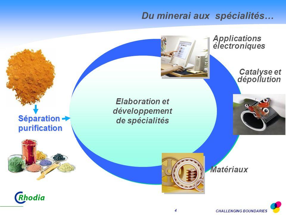 CHALLENGING BOUNDARIES 4 Applications électroniques Séparationpurification Elaboration et développement de spécialités Matériaux Catalyse et dépollution Minerai Du minerai aux spécialités… Concentrés bruts
