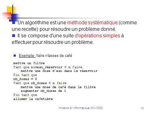 10 Un algorithme est une méthode systématique (comme une recette) pour résoudre un problème donné.