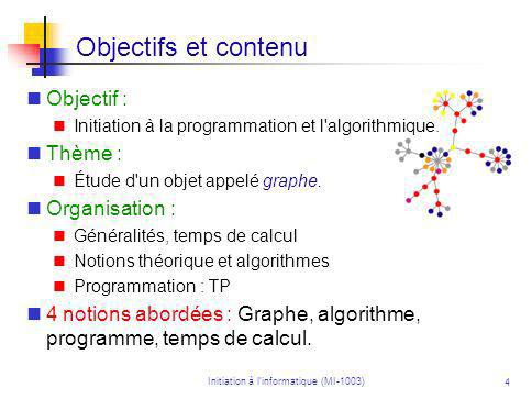 Initiation à linformatique (MI-1003) 15 Temps de calcul Le temps de calcul (ou complexité) d un algorithme est la fonction qui à un entier n associe le nombre maximal d instructions élémentaires que l algorithme effectue, lorsquon travaille sur des objets de taille n.