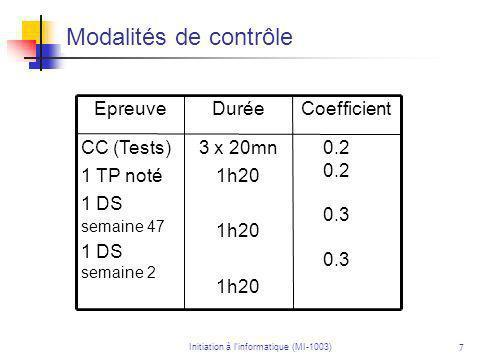 7 Modalités de contrôle 0.2 0.3 3 x 20mn 1h20 CC (Tests) 1 TP noté 1 DS semaine 47 1 DS semaine 2 CoefficientDuréeEpreuve