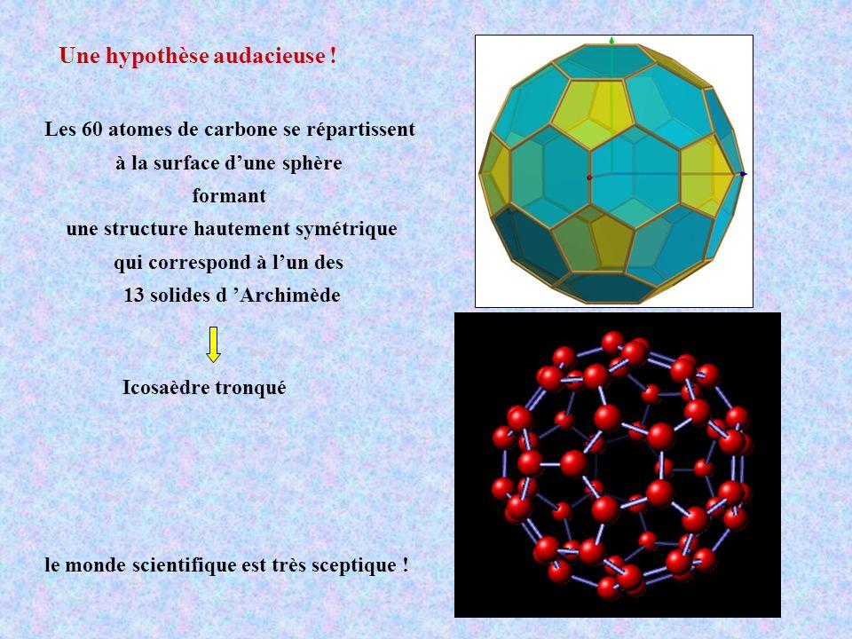 Une hypothèse audacieuse ! Les 60 atomes de carbone se répartissent à la surface dune sphère formant une structure hautement symétrique qui correspond