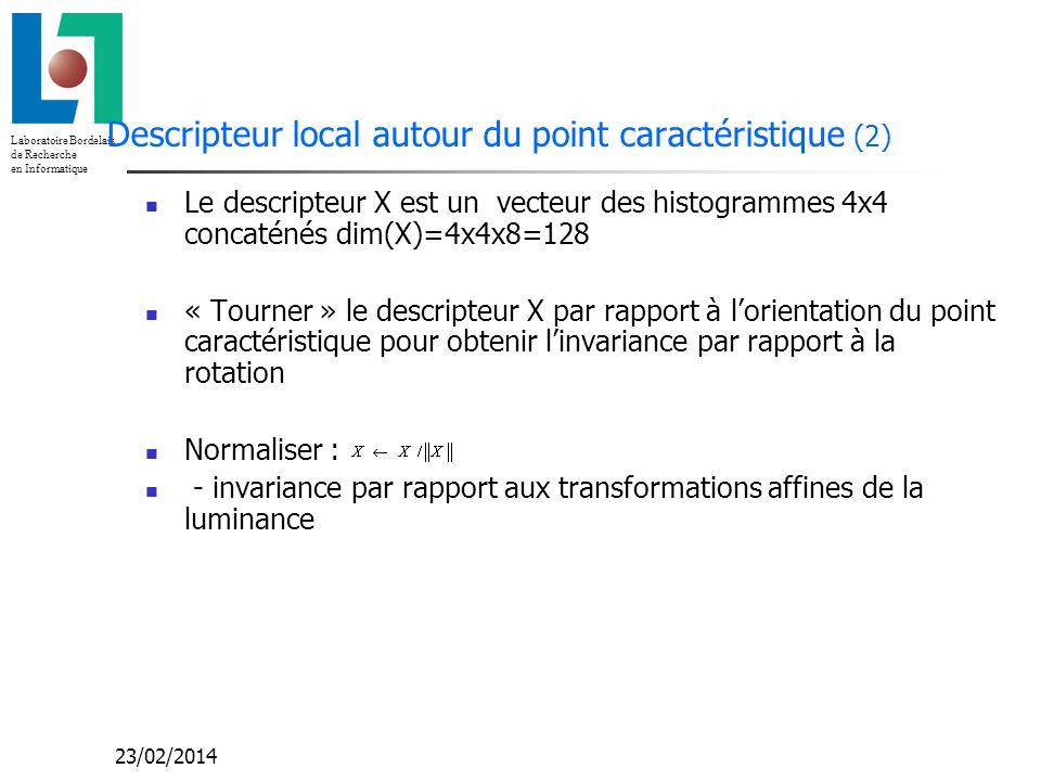 Laboratoire Bordelais de Recherche en Informatique 23/02/2014 Descripteur local autour du point caractéristique (2) Le descripteur X est un vecteur de