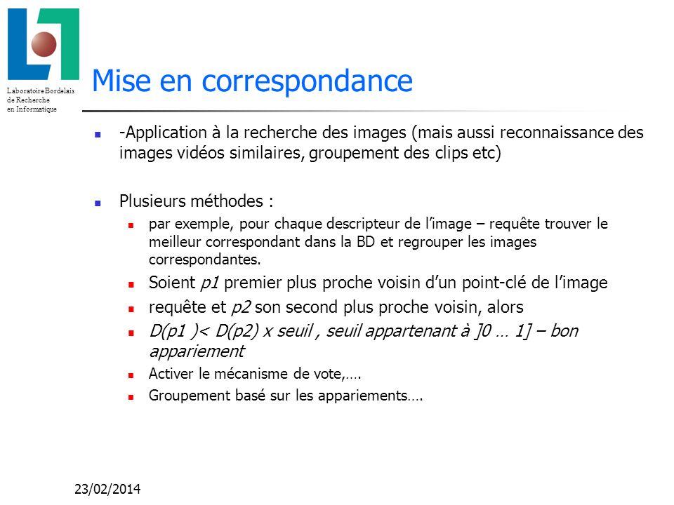 Laboratoire Bordelais de Recherche en Informatique 23/02/2014 Mise en correspondance -Application à la recherche des images (mais aussi reconnaissance