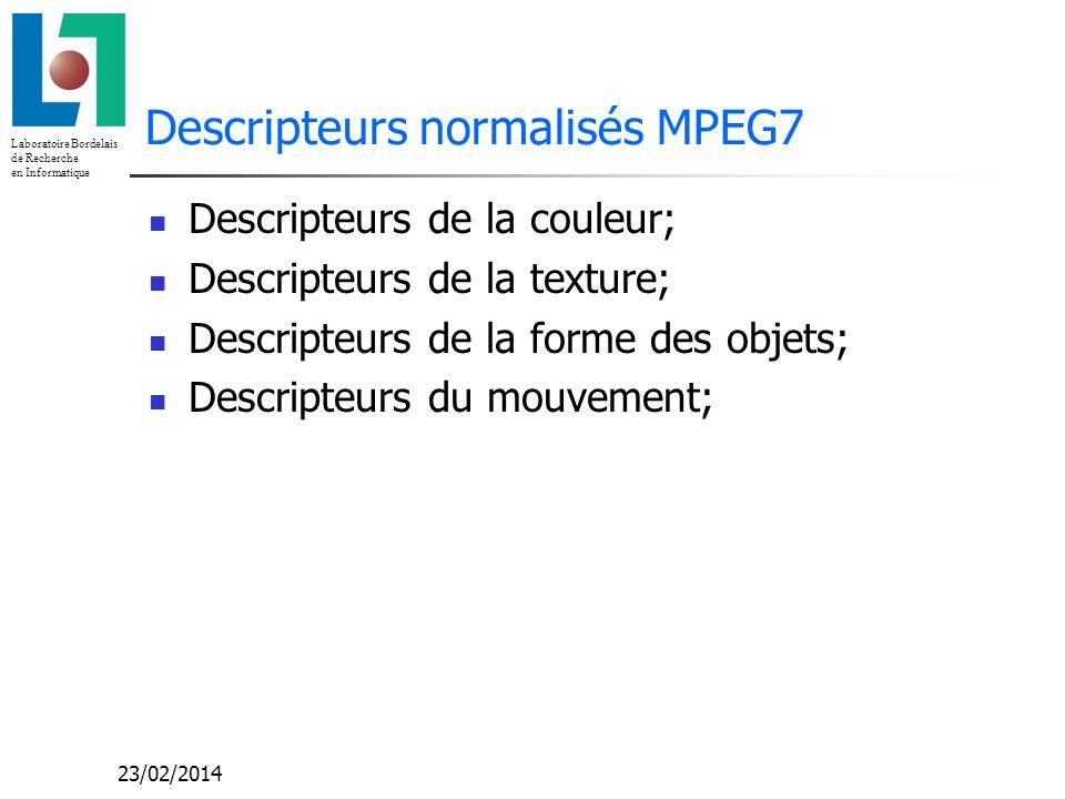 Laboratoire Bordelais de Recherche en Informatique 23/02/2014 Descripteurs normalisés MPEG7 Descripteurs de la couleur; Descripteurs de la texture; De