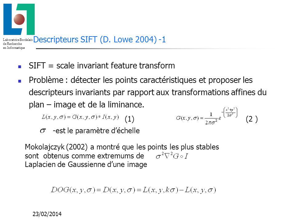 Laboratoire Bordelais de Recherche en Informatique 23/02/2014 Descripteur local autour du point caractéristique (2) Le descripteur X est un vecteur des histogrammes 4x4 concaténés dim(X)=4x4x8=128 « Tourner » le descripteur X par rapport à lorientation du point caractéristique pour obtenir linvariance par rapport à la rotation Normaliser : - invariance par rapport aux transformations affines de la luminance