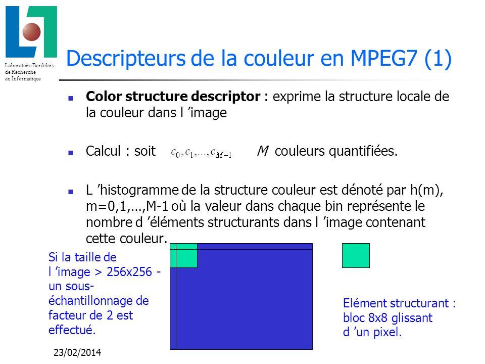 Laboratoire Bordelais de Recherche en Informatique 23/02/2014 Descripteurs de la couleur en MPEG7 (1) Color structure descriptor : exprime la structur