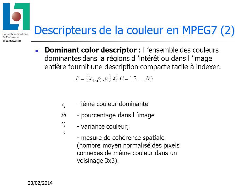 Laboratoire Bordelais de Recherche en Informatique 23/02/2014 Descripteurs de la couleur en MPEG7 (2) Dominant color descriptor : l ensemble des coule