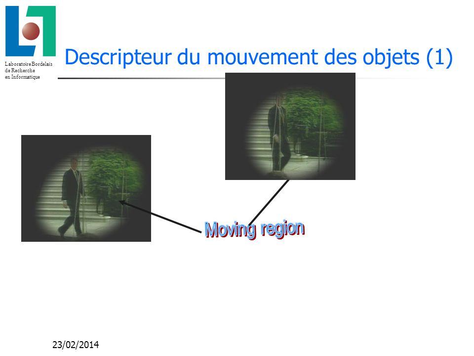 Laboratoire Bordelais de Recherche en Informatique 23/02/2014 Descripteur du mouvement des objets (1)