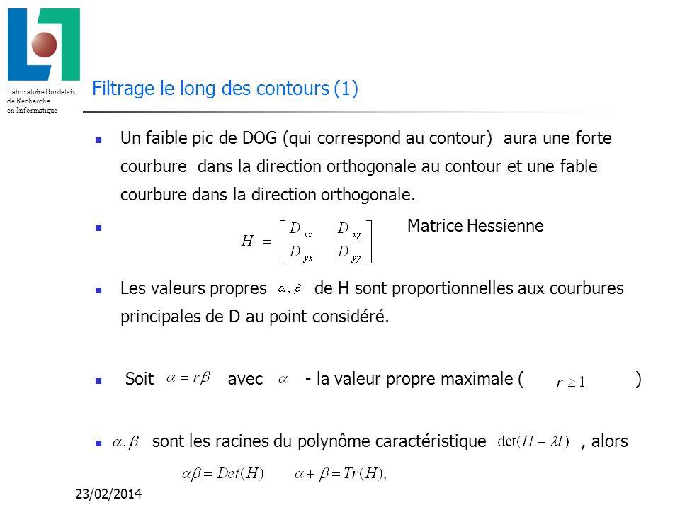 Laboratoire Bordelais de Recherche en Informatique 23/02/2014 Filtrage le long des contours (1) Un faible pic de DOG (qui correspond au contour) aura