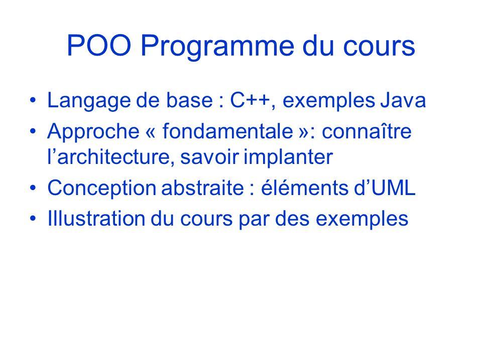 POO Programme du cours Langage de base : C++, exemples Java Approche « fondamentale »: connaître larchitecture, savoir implanter Conception abstraite
