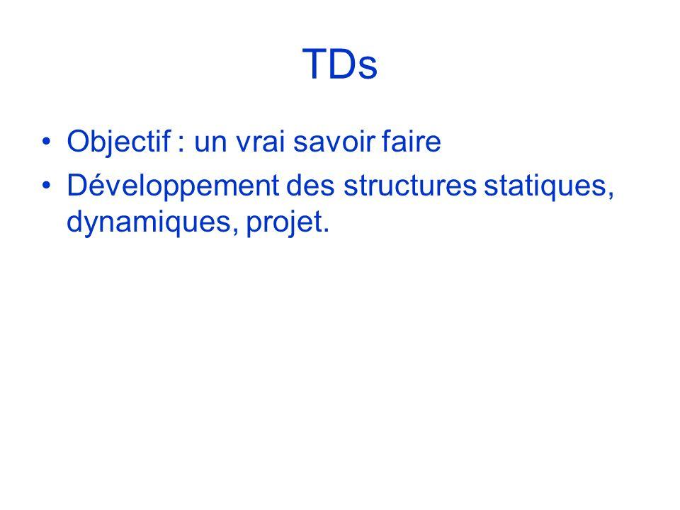 TDs Objectif : un vrai savoir faire Développement des structures statiques, dynamiques, projet.