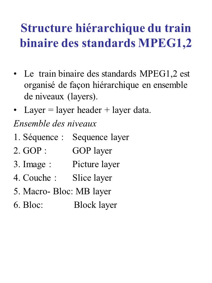 Structure hiérarchique du train binaire des standards MPEG1,2 Le train binaire des standards MPEG1,2 est organisé de façon hiérarchique en ensemble de