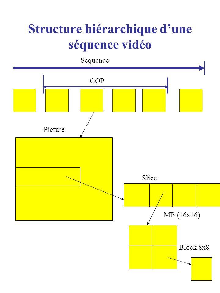 Structure hiérarchique dune séquence vidéo Sequence GOP Picture Slice MB (16x16) Block 8x8