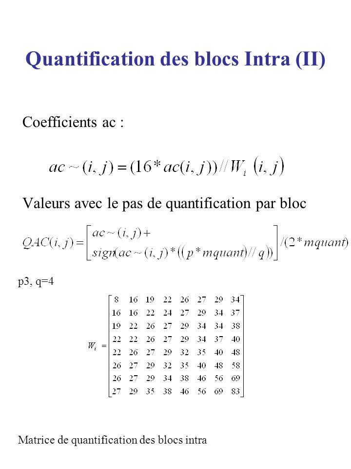 Quantification des blocs Intra (II) Coefficients ac : Valeurs avec le pas de quantification par bloc p3, q=4 Matrice de quantification des blocs intra