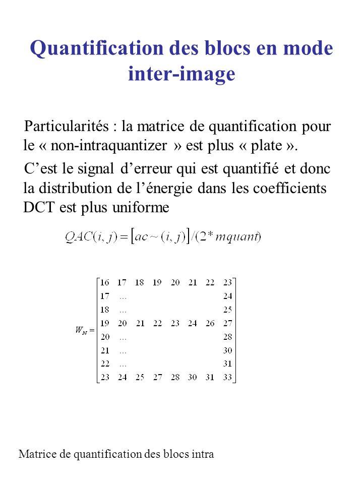 Quantification des blocs en mode inter-image Particularités : la matrice de quantification pour le « non-intraquantizer » est plus « plate ». Cest le