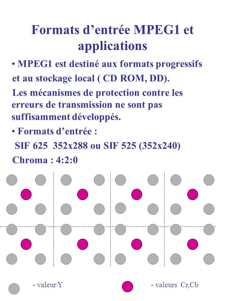 MPEG1 est destiné aux formats progressifs et au stockage local ( CD ROM, DD). Les mécanismes de protection contre les erreurs de transmission ne sont