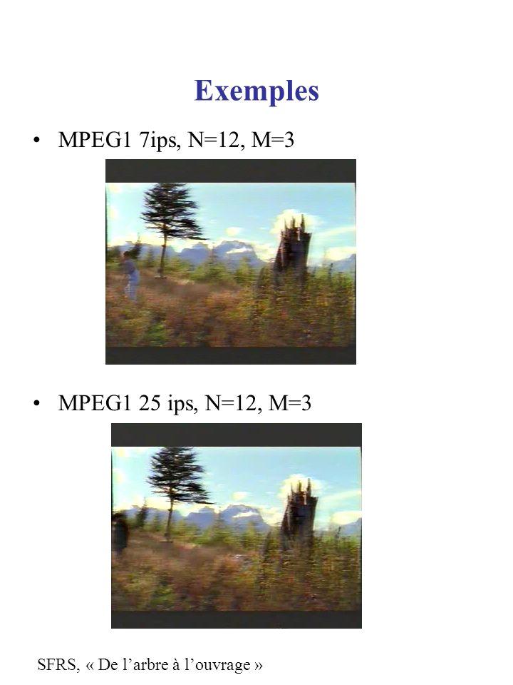 Exemples MPEG1 7ips, N=12, M=3 MPEG1 25 ips, N=12, M=3 SFRS, « De larbre à louvrage »