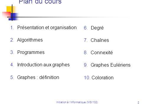 Initiation à linformatique (MSI102) 2 Plan du cours 1. Présentation et organisation 2. Algorithmes 3. Programmes 4. Introduction aux graphes 5. Graphe