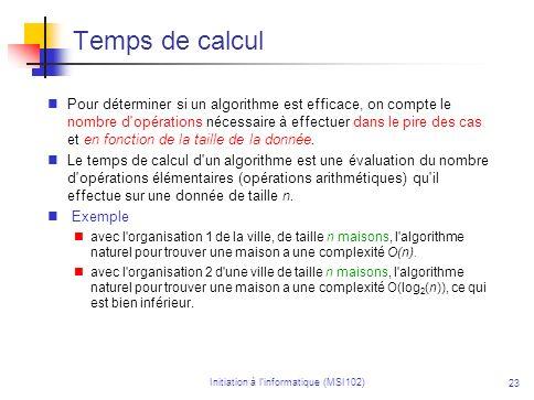 Initiation à linformatique (MSI102) 23 Temps de calcul Pour déterminer si un algorithme est efficace, on compte le nombre d opérations nécessaire à effectuer dans le pire des cas et en fonction de la taille de la donnée.
