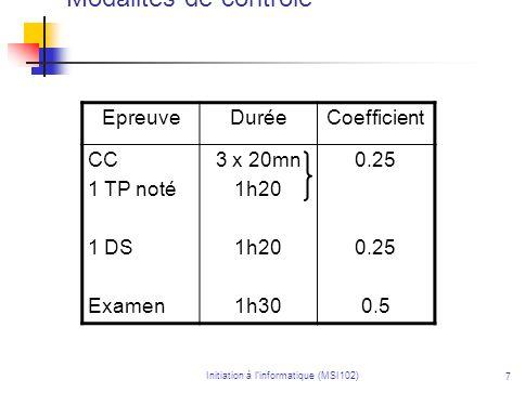 Initiation à linformatique (MSI102) 7 Modalités de contrôle EpreuveDuréeCoefficient CC 1 TP noté 1 DS Examen 3 x 20mn 1h20 1h30 0.25 0.5