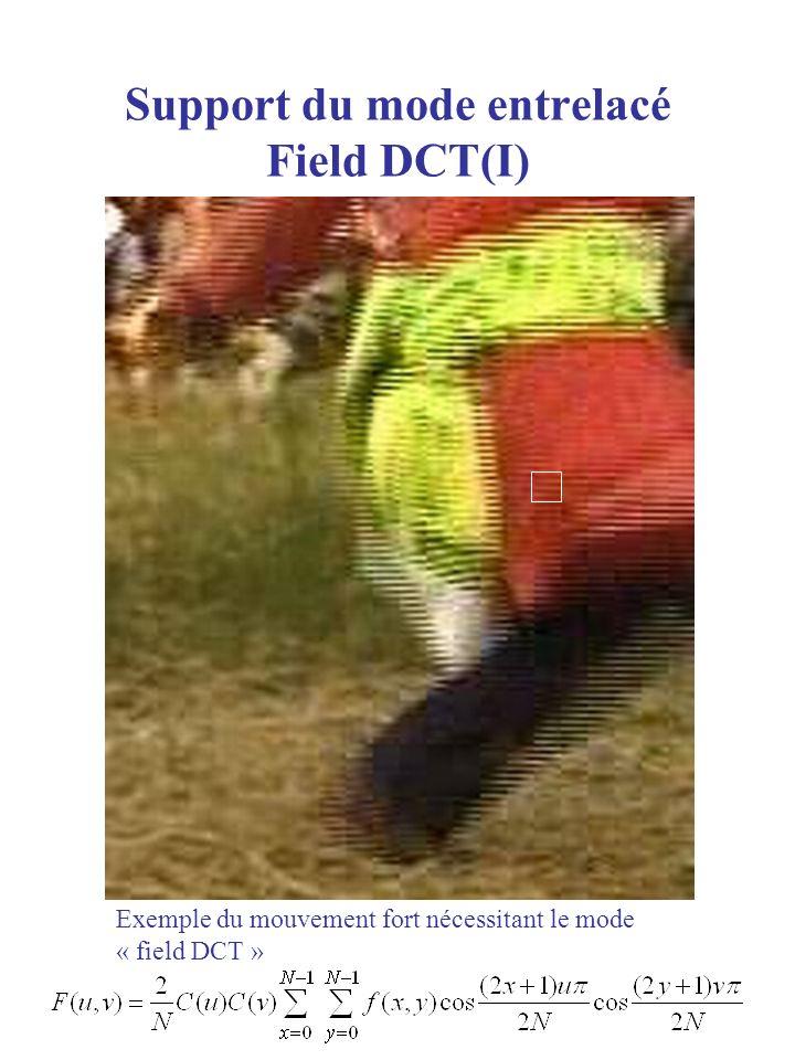 Support du mode entrelacé Field DCT(I) Macroblock Exemple du mouvement fort nécessitant le mode « field DCT »