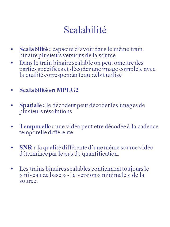 Scalabilité Scalabilité : capacité davoir dans le même train binaire plusieurs versions de la source. Dans le train binaire scalable on peut omettre d