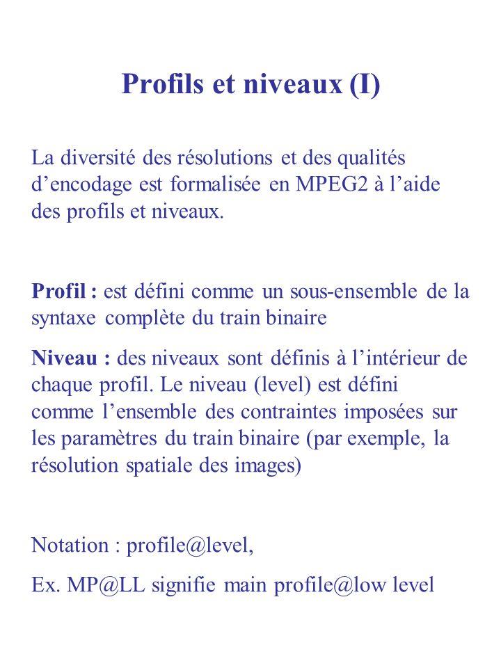Profils et niveaux (I) La diversité des résolutions et des qualités dencodage est formalisée en MPEG2 à laide des profils et niveaux. Profil : est déf