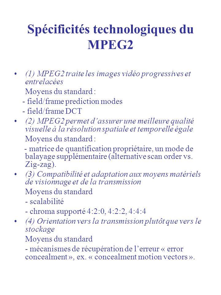 Spécificités technologiques du MPEG2 (1) MPEG2 traite les images vidéo progressives et entrelacées Moyens du standard : - field/frame prediction modes