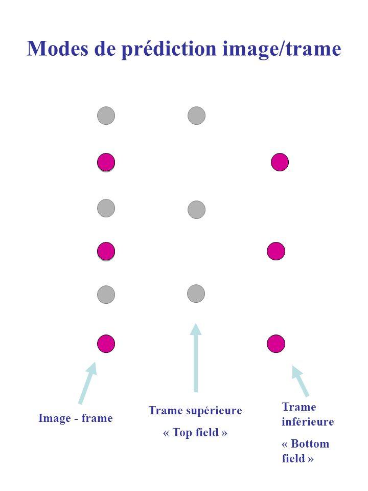Modes de prédiction image/trame (II) Image PréditeImage de référence Mode Field : Chaque trame peut être prédite -soit par la trame de la même parité -soit par la trame de la parité opposée -Ainsi dans les images P pour le mode « field » deux vecteurs du mouvement sont possibles.