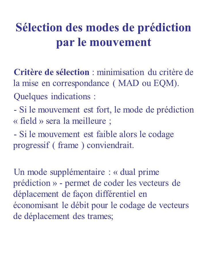 Sélection des modes de prédiction par le mouvement Critère de sélection : minimisation du critère de la mise en correspondance ( MAD ou EQM). Quelques