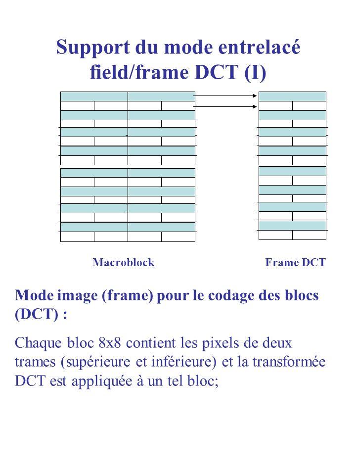 Support du mode entrelacé field/frame DCT (II) MacroblockFrame DCT Mode field DCT : chaque bloc 8x8 contient les pixels dune seule trame et la transformée DCT est appliquée à un tel bloc; Lintérêt : quand le mouvement est fort, le décalage spatial entre les trames est important ; cela peut amener à une variation importante de la luminance, donc à laugmentation de la haute fréquence.