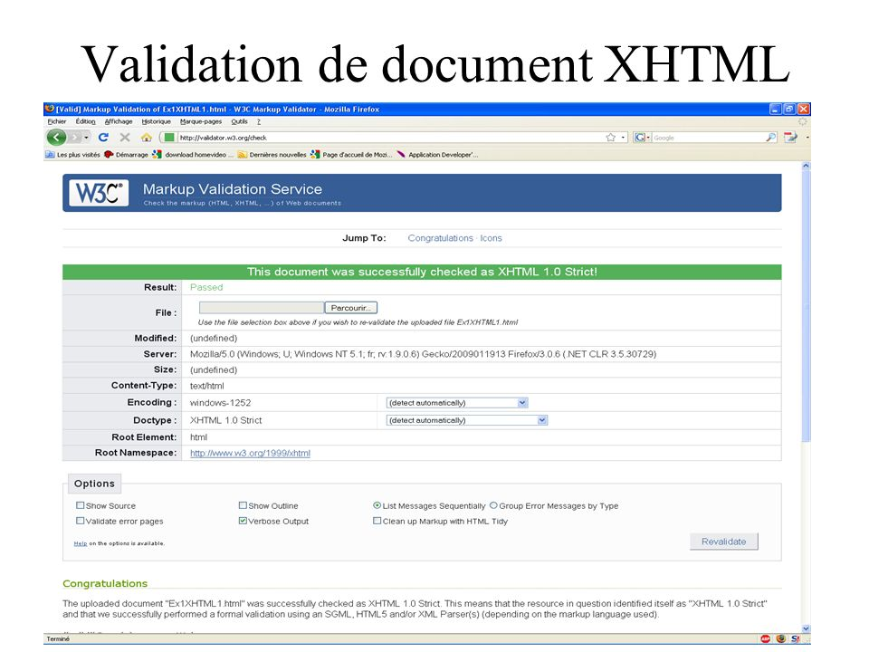 Validation de document XHTML