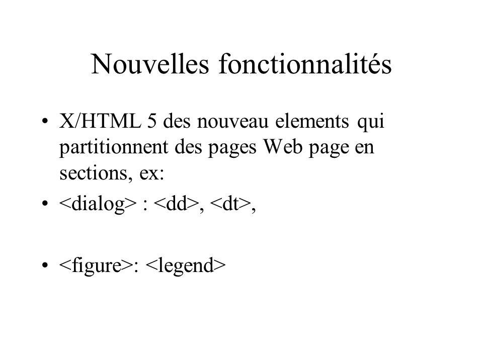 Nouvelles fonctionnalités X/HTML 5 des nouveau elements qui partitionnent des pages Web page en sections, ex: :,, :