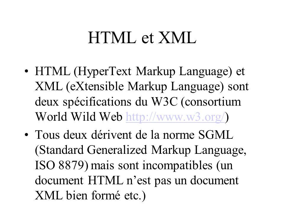 HTML et XML HTML (HyperText Markup Language) et XML (eXtensible Markup Language) sont deux spécifications du W3C (consortium World Wild Web http://www.w3.org/)http://www.w3.org/ Tous deux dérivent de la norme SGML (Standard Generalized Markup Language, ISO 8879) mais sont incompatibles (un document HTML nest pas un document XML bien formé etc.)
