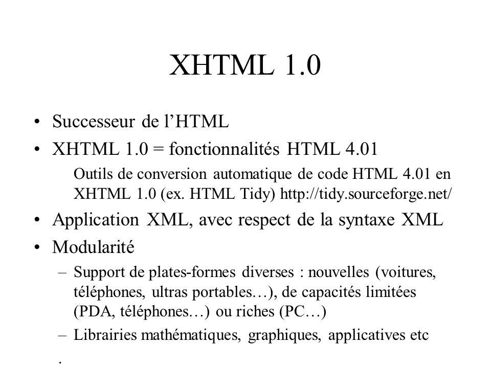 XHTML 1.0 Successeur de lHTML XHTML 1.0 = fonctionnalités HTML 4.01 Outils de conversion automatique de code HTML 4.01 en XHTML 1.0 (ex.