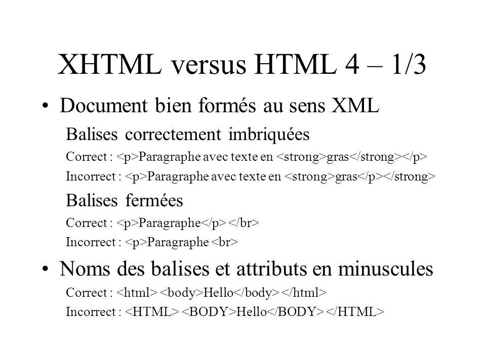 XHTML versus HTML 4 – 1/3 Document bien formés au sens XML Balises correctement imbriquées Correct : Paragraphe avec texte en gras Incorrect : Paragraphe avec texte en gras Balises fermées Correct : Paragraphe Incorrect : Paragraphe Noms des balises et attributs en minuscules Correct : Hello Incorrect : Hello
